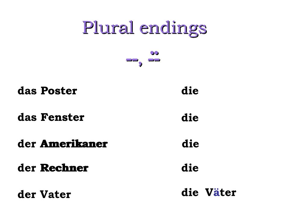 Plural endings --, -- .. das Poster Poster Fenster Amerikaner Rechner
