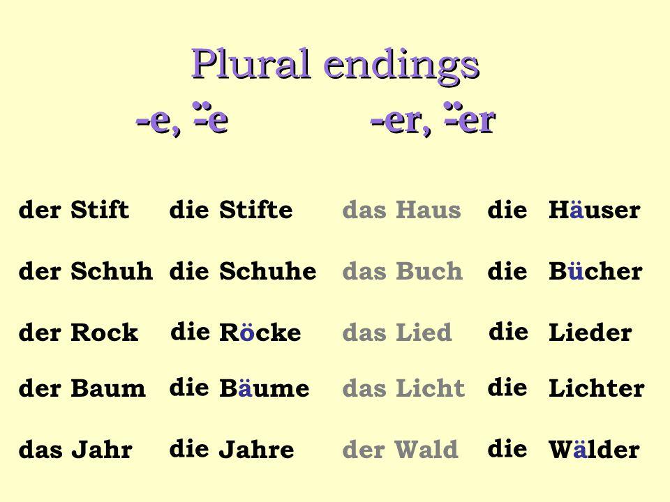Plural endings -e, -e -er, -er .. .. der Stift die Stifte das Haus