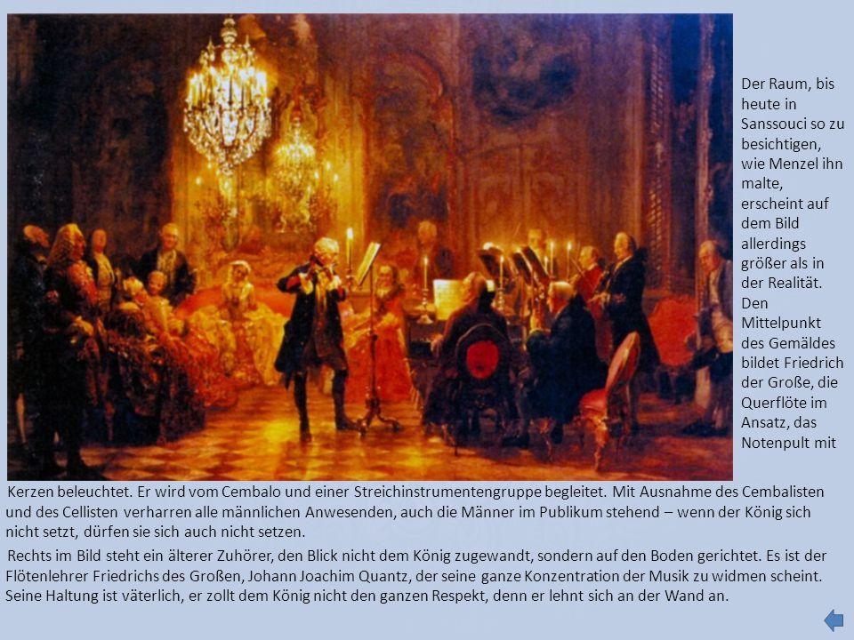 Der Raum, bis heute in Sanssouci so zu besichtigen, wie Menzel ihn malte, erscheint auf dem Bild allerdings größer als in der Realität.