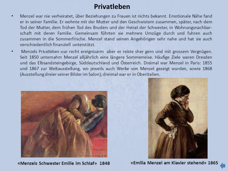 Privatleben «Menzels Schwester Emilie im Schlaf» 1848