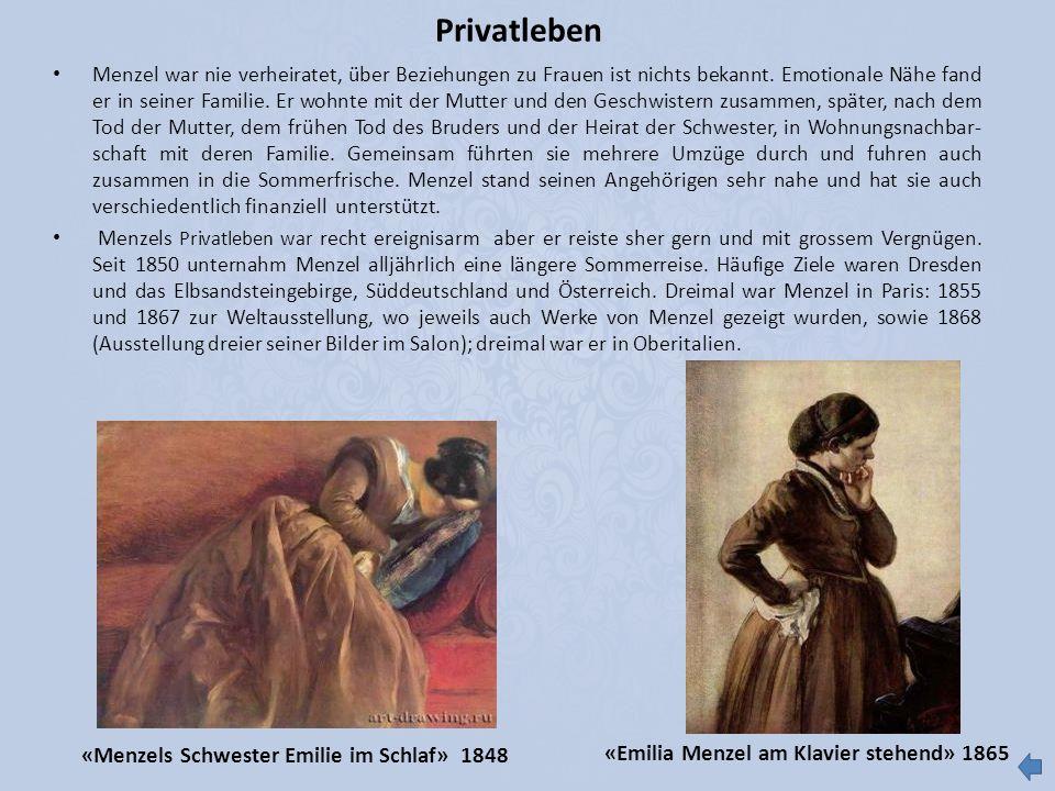 Privatleben «Menzels Schwester Emilie im Schlaf» 1848