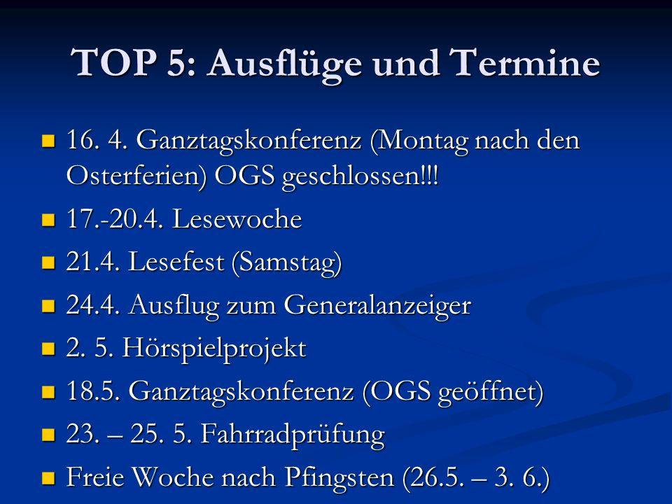 TOP 5: Ausflüge und Termine