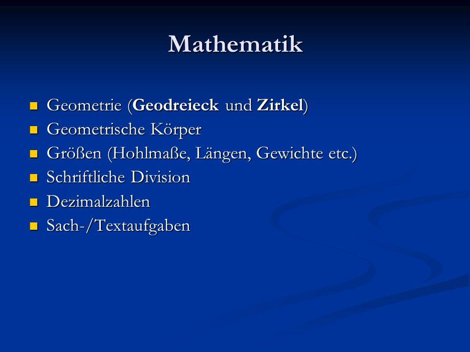 Mathematik Geometrie (Geodreieck und Zirkel) Geometrische Körper
