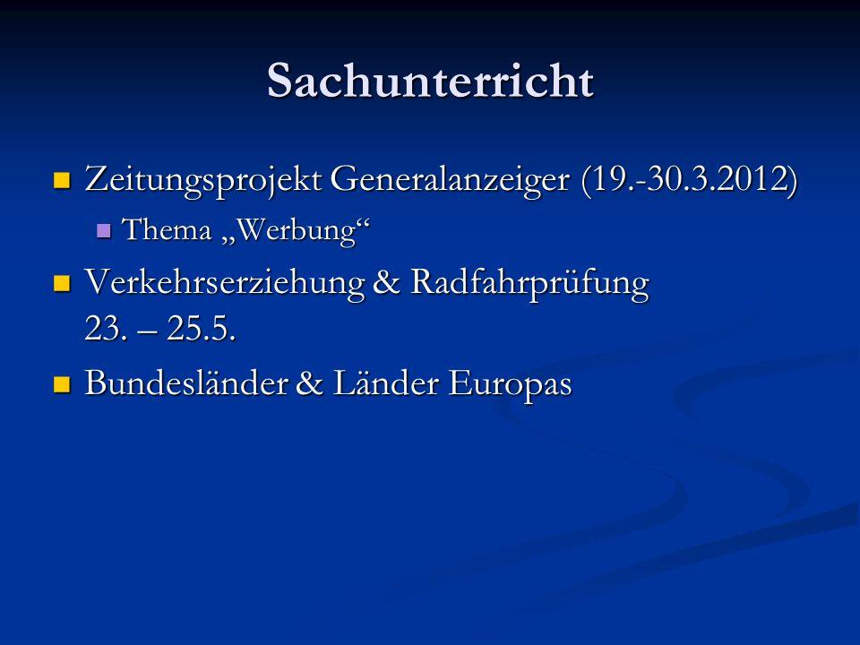 Sachunterricht Zeitungsprojekt Generalanzeiger (19.-30.3.2012)