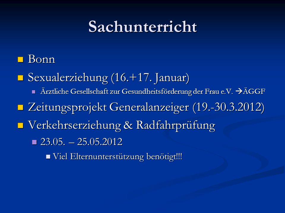 Sachunterricht Bonn Sexualerziehung (16.+17. Januar)