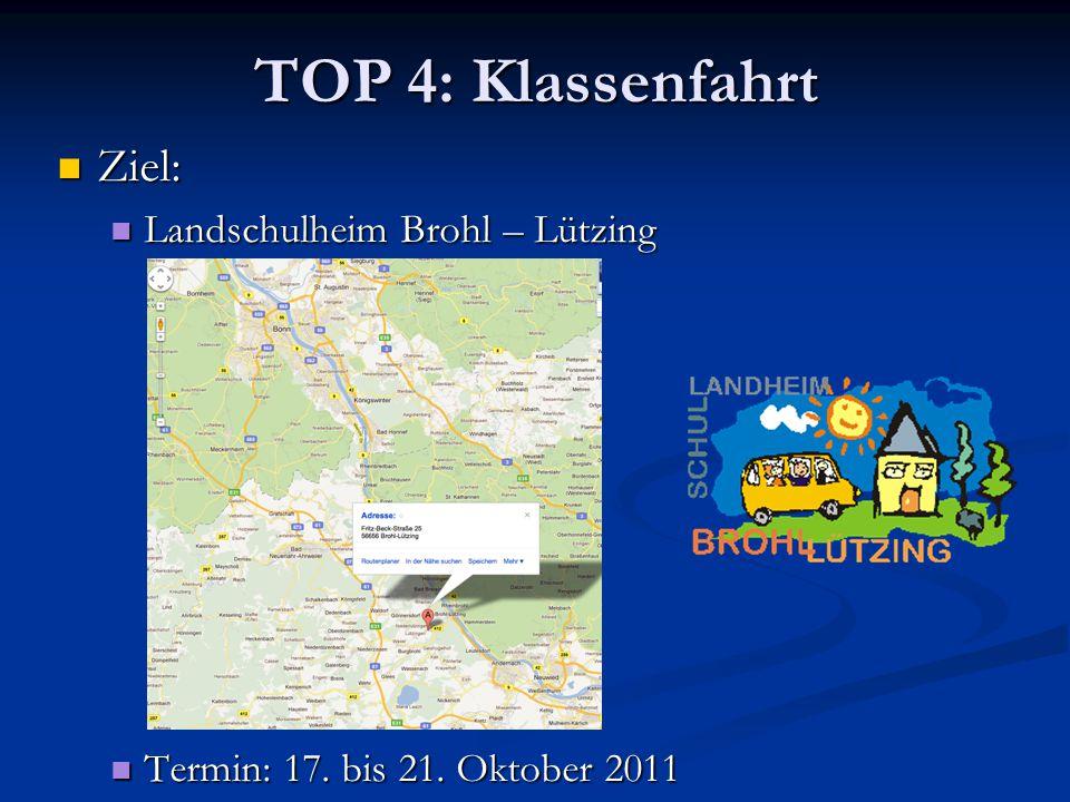 TOP 4: Klassenfahrt Ziel: Landschulheim Brohl – Lützing