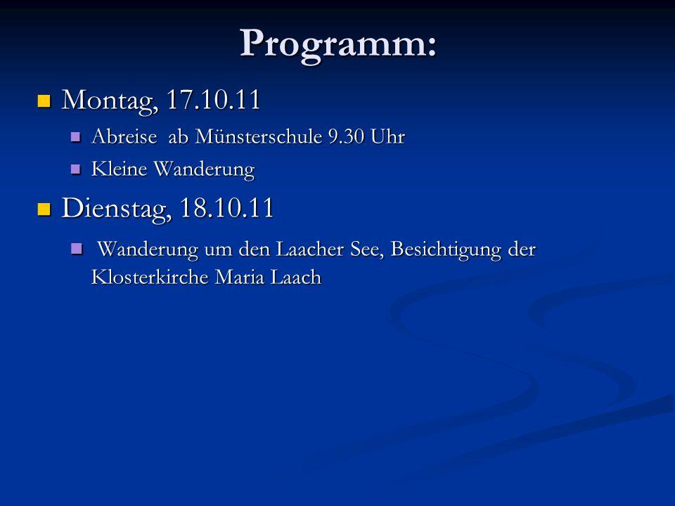 Programm: Montag, 17.10.11 Dienstag, 18.10.11