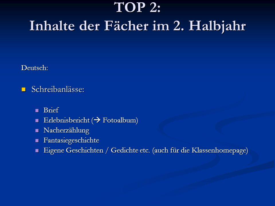 TOP 2: Inhalte der Fächer im 2. Halbjahr