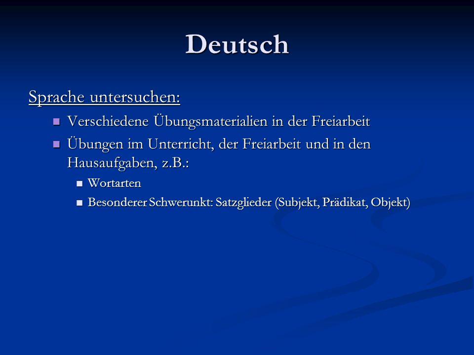 Deutsch Sprache untersuchen: