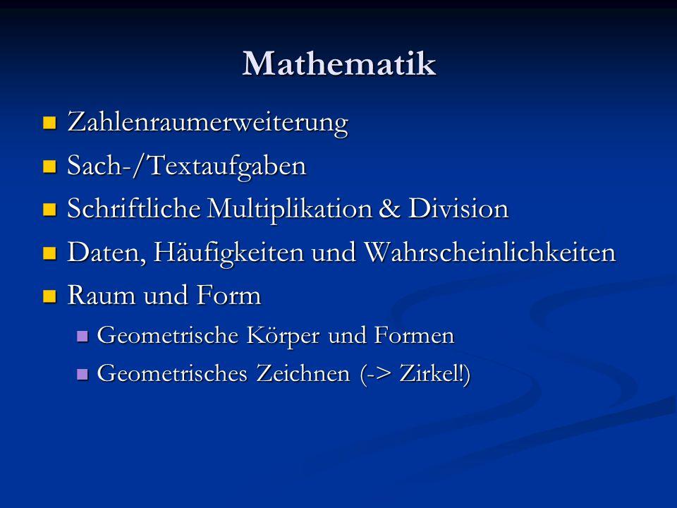 Mathematik Zahlenraumerweiterung Sach-/Textaufgaben