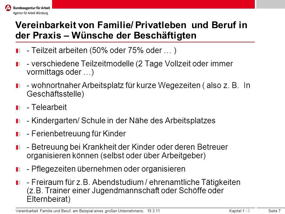 Vereinbarkeit von Familie/ Privatleben und Beruf in der Praxis – Wünsche der Beschäftigten