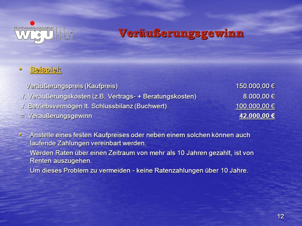 Veräußerungspreis (Kaufpreis) 150.000,00 €