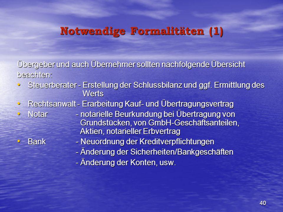 Notwendige Formalitäten (1)