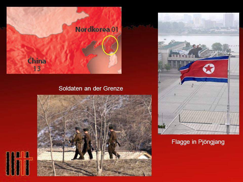 Soldaten an der Grenze Flagge in Pjöngjang