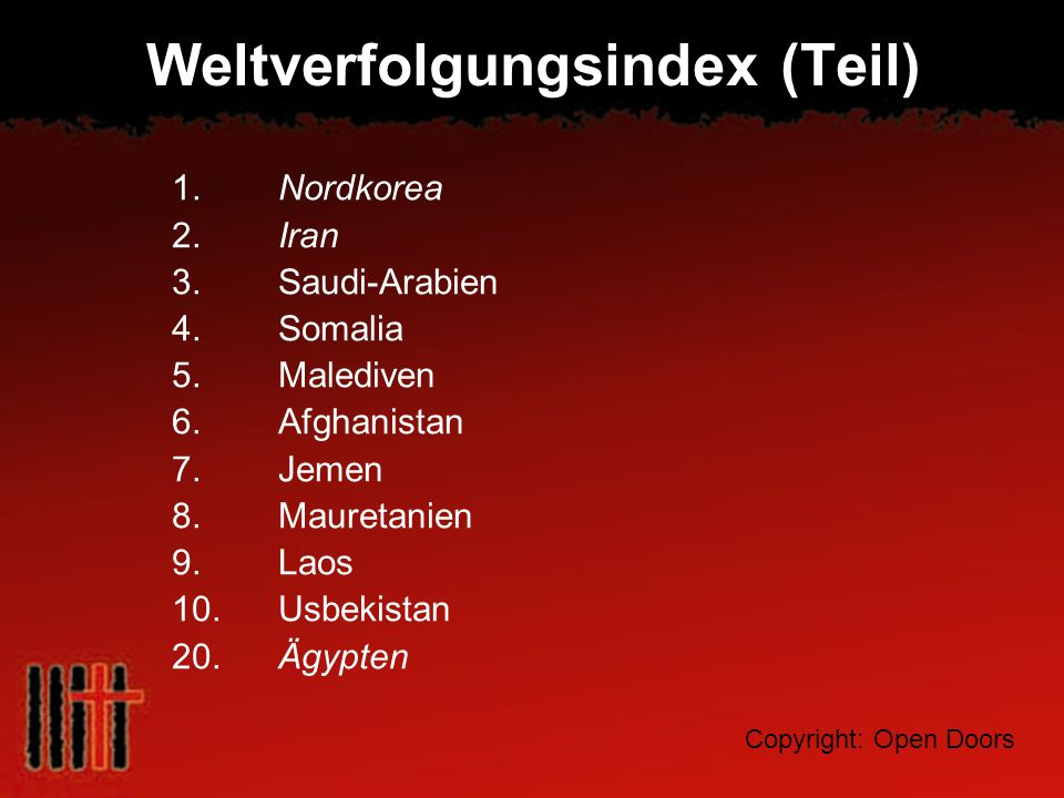 Weltverfolgungsindex (Teil)