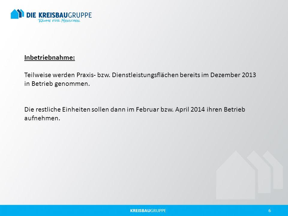 Inbetriebnahme: Teilweise werden Praxis- bzw. Dienstleistungsflächen bereits im Dezember 2013 in Betrieb genommen.