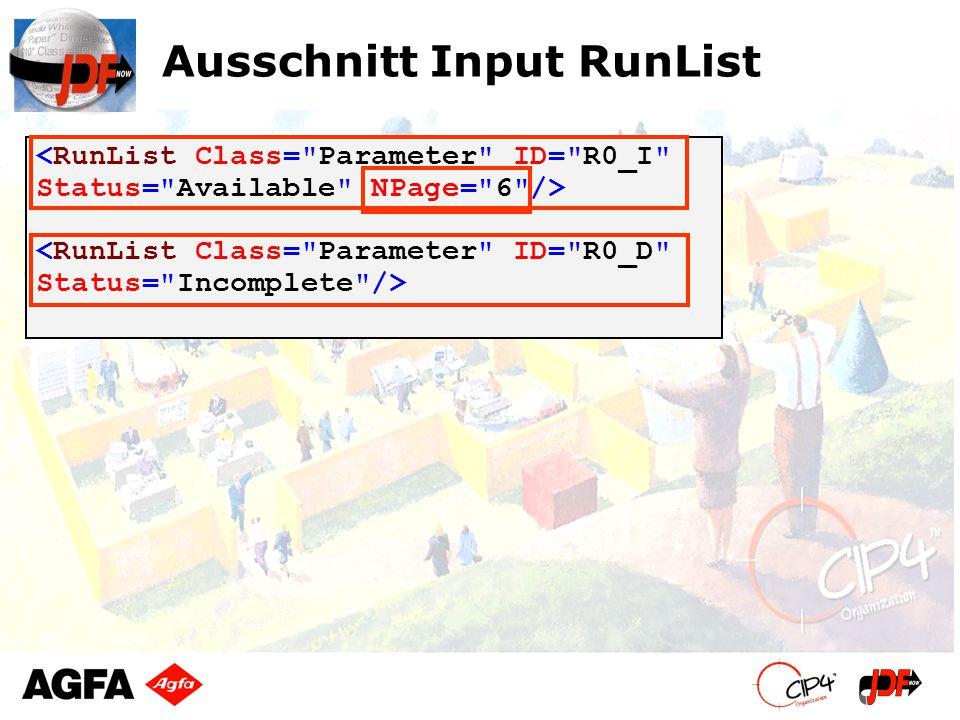 Ausschnitt Input RunList