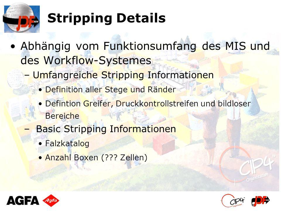 Stripping Details Abhängig vom Funktionsumfang des MIS und des Workflow-Systemes. Umfangreiche Stripping Informationen.