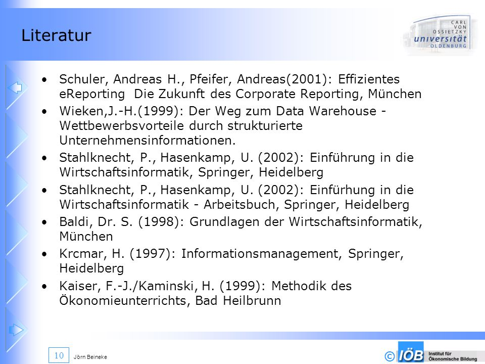 Literatur Schuler, Andreas H., Pfeifer, Andreas(2001): Effizientes eReporting Die Zukunft des Corporate Reporting, München.