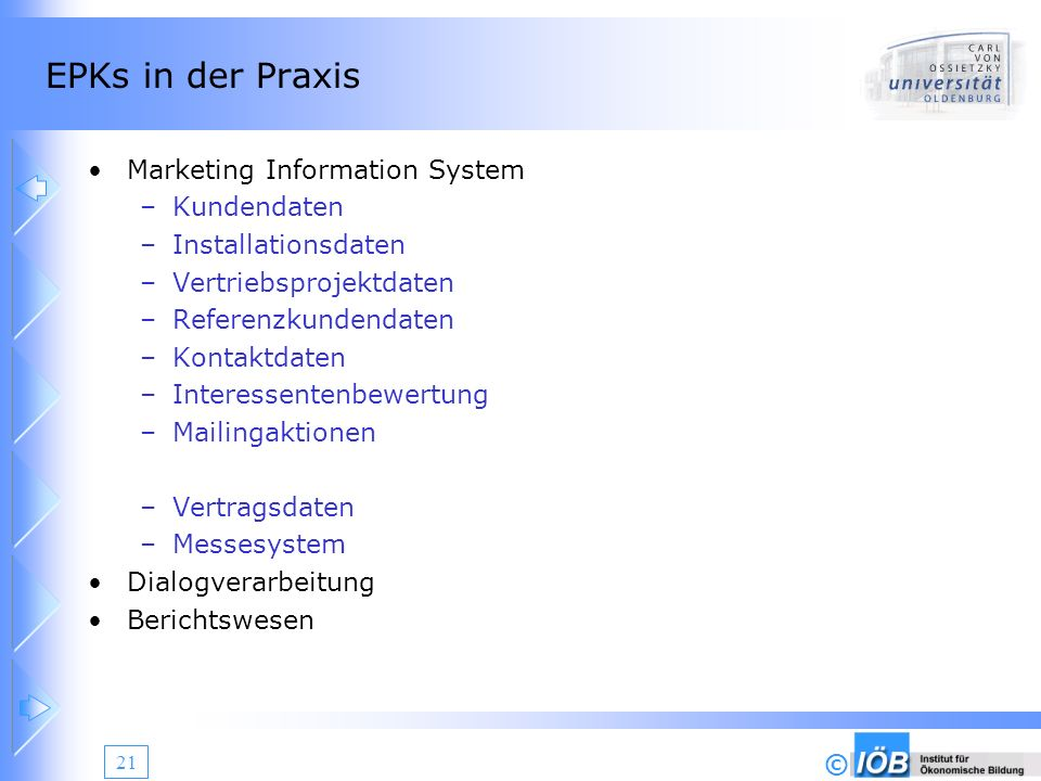 EPKs in der Praxis Marketing Information System Kundendaten