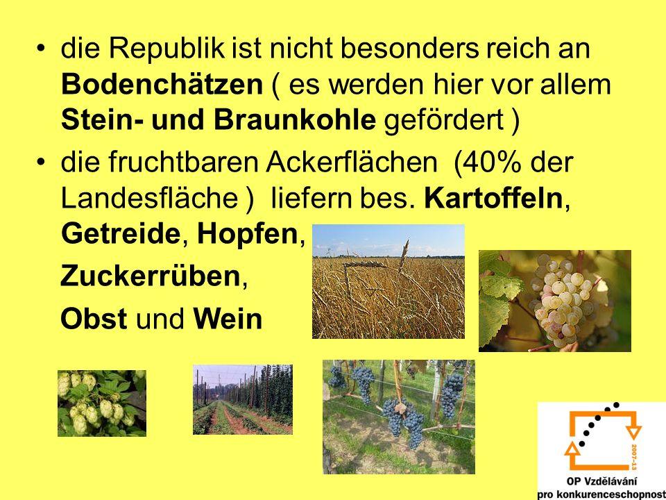 die Republik ist nicht besonders reich an Bodenchätzen ( es werden hier vor allem Stein- und Braunkohle gefördert )