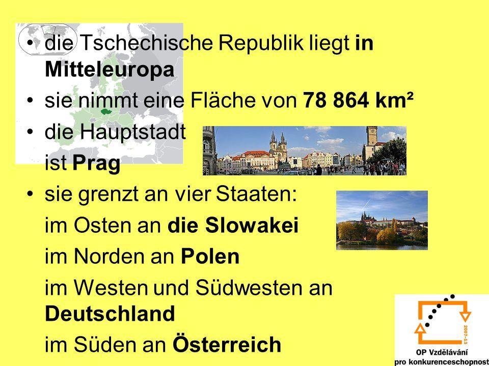 die Tschechische Republik liegt in Mitteleuropa