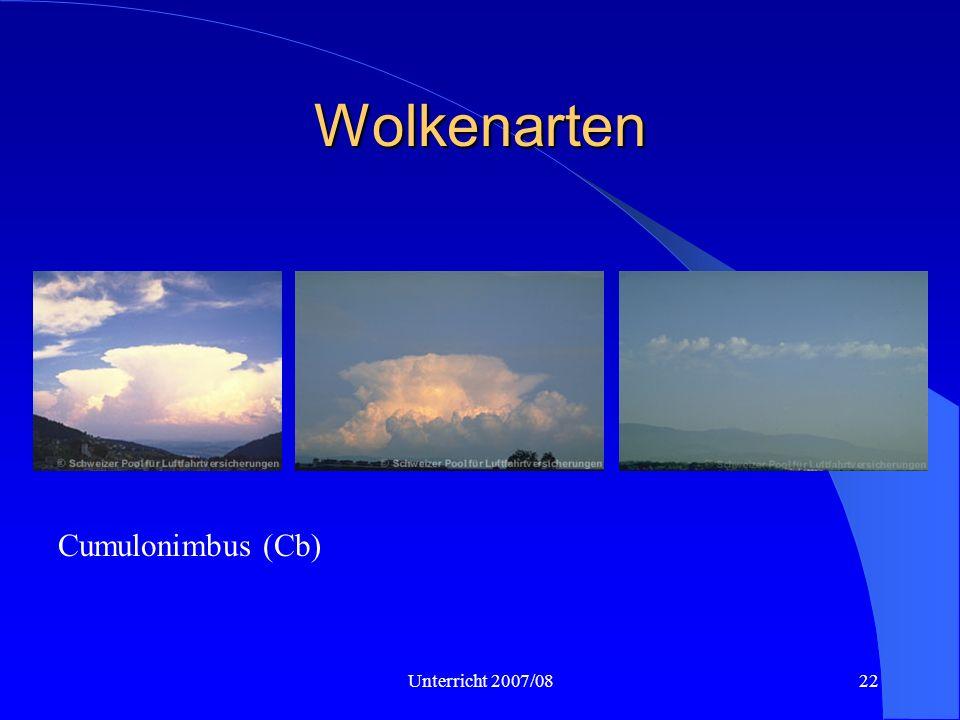 Wolkenarten Cb, Cb, Ac cast Cumulonimbus (Cb) Unterricht 2007/08