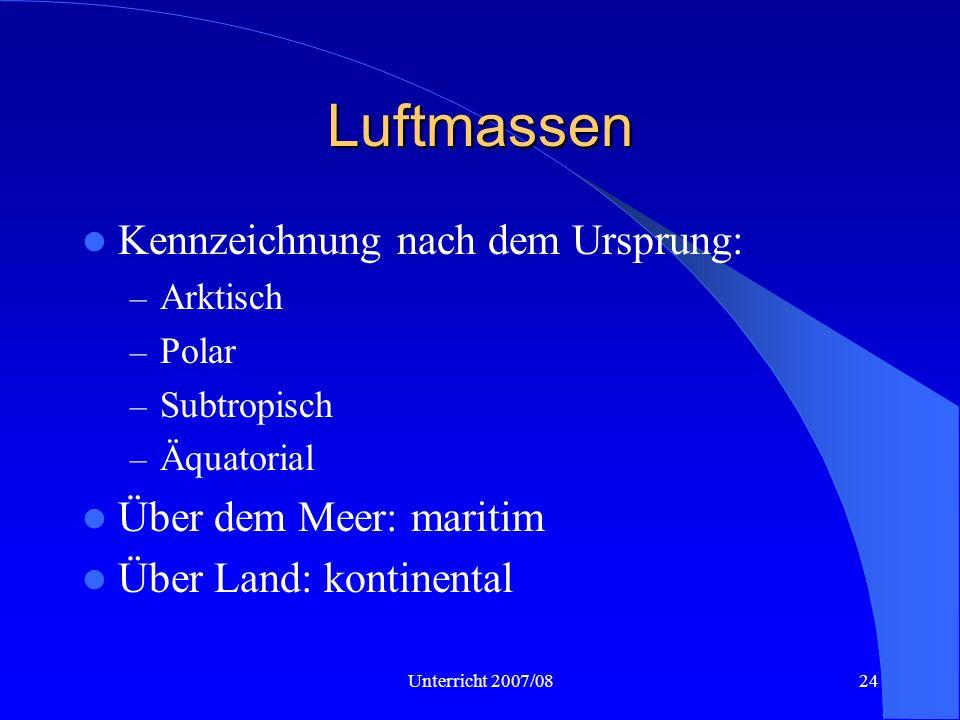 Luftmassen Kennzeichnung nach dem Ursprung: Über dem Meer: maritim