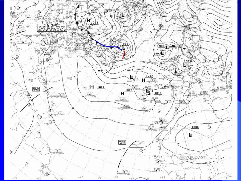 Auf diesem und den folgenden Bodenwetterkarten aufeinanderfolgender Tage sieht man deutlich die Ausbildung und Wanderung solcher Zyklonen mit den zugehörigen Frontausläufern.