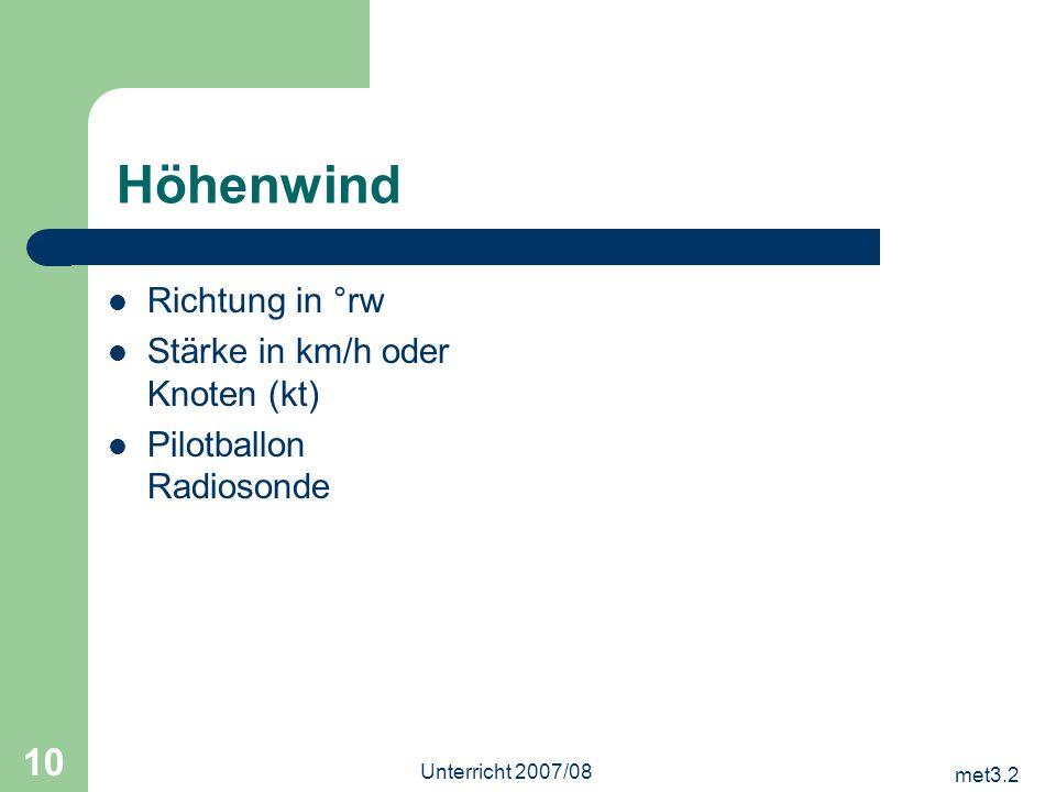 Höhenwind Richtung in °rw Stärke in km/h oder Knoten (kt)