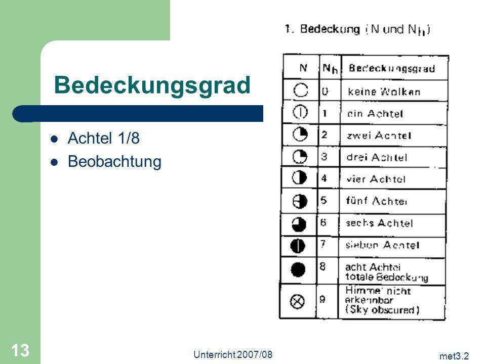 Bedeckungsgrad Achtel 1/8 Beobachtung Unterricht 2007/08 met3.2