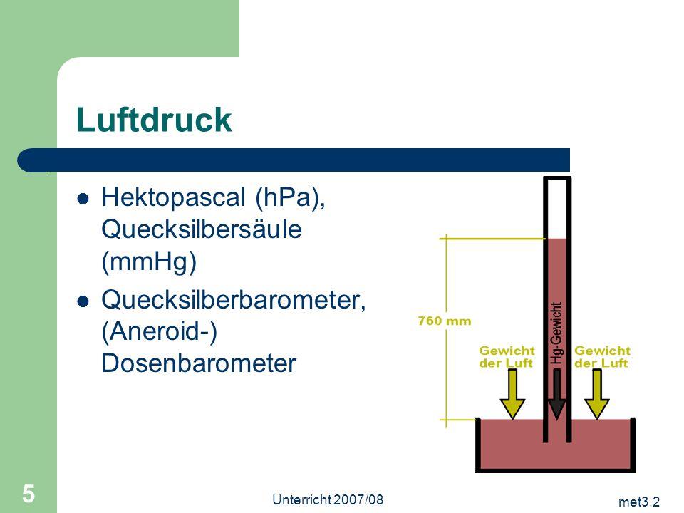 Luftdruck Hektopascal (hPa), Quecksilbersäule (mmHg)