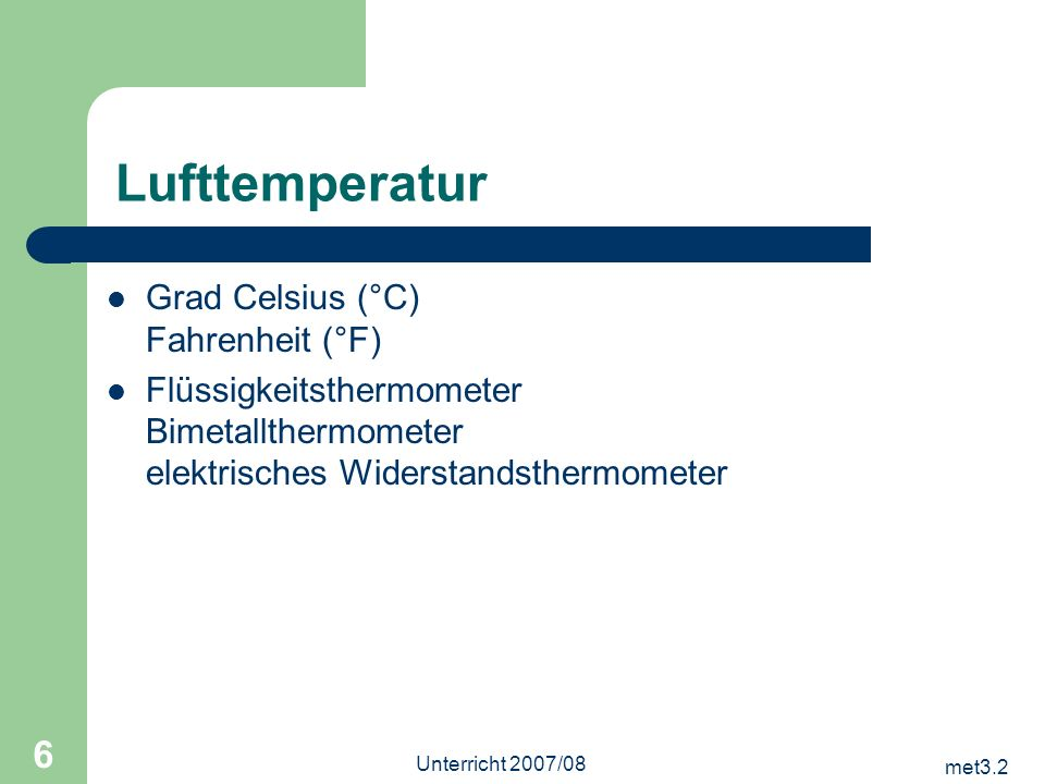 Lufttemperatur Grad Celsius (°C) Fahrenheit (°F)