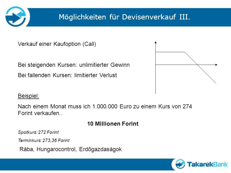 Möglichkeiten für Devisenverkauf III.
