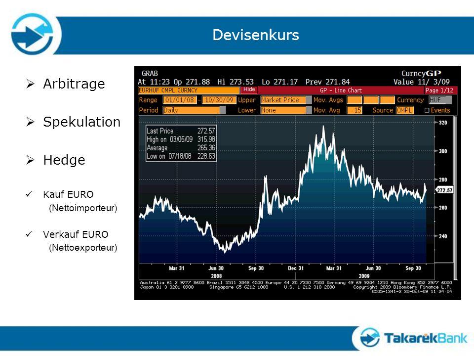 Devisenkurs Arbitrage Spekulation Hedge Kauf EURO (Nettoimporteur)
