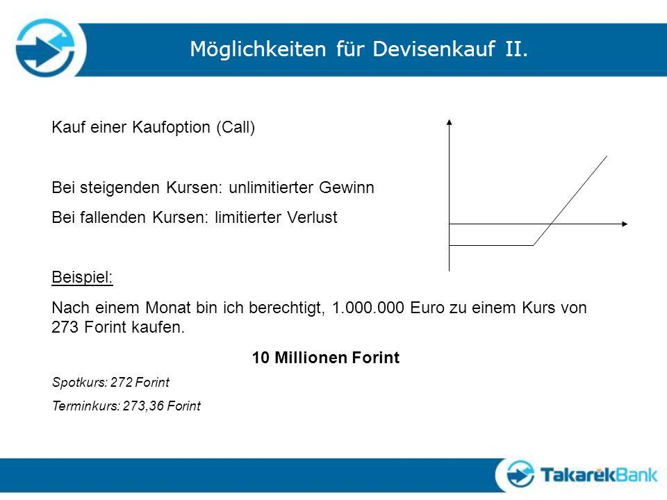 Möglichkeiten für Devisenkauf II.