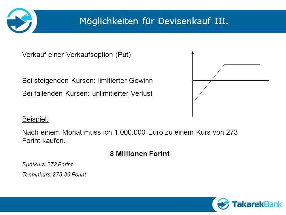 Möglichkeiten für Devisenkauf III.