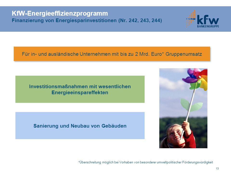 KfW-Energieeffizienzprogramm Finanzierung von Energiesparinvestitionen (Nr. 242, 243, 244)