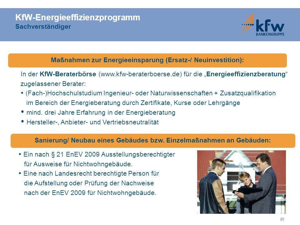 KfW-Energieeffizienzprogramm Sachverständiger