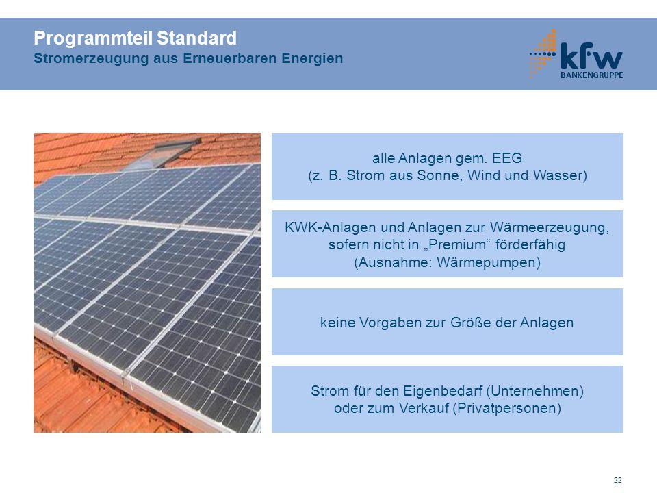 Programmteil Standard Stromerzeugung aus Erneuerbaren Energien