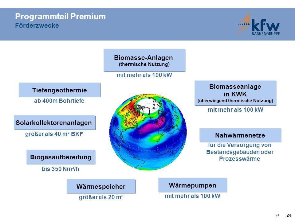 Programmteil Premium Förderzwecke Biomasse-Anlagen