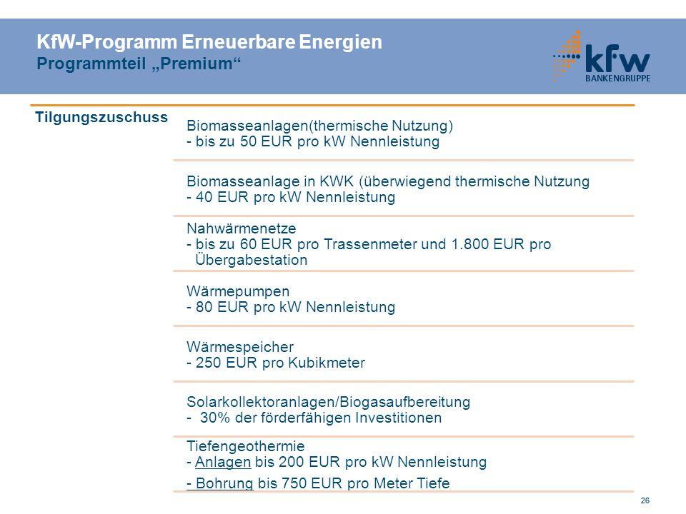 """KfW-Programm Erneuerbare Energien Programmteil """"Premium"""