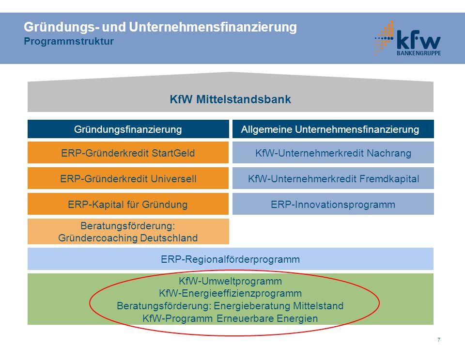 Gründungs- und Unternehmensfinanzierung Programmstruktur