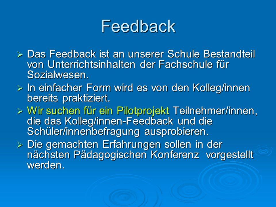 Feedback Das Feedback ist an unserer Schule Bestandteil von Unterrichtsinhalten der Fachschule für Sozialwesen.