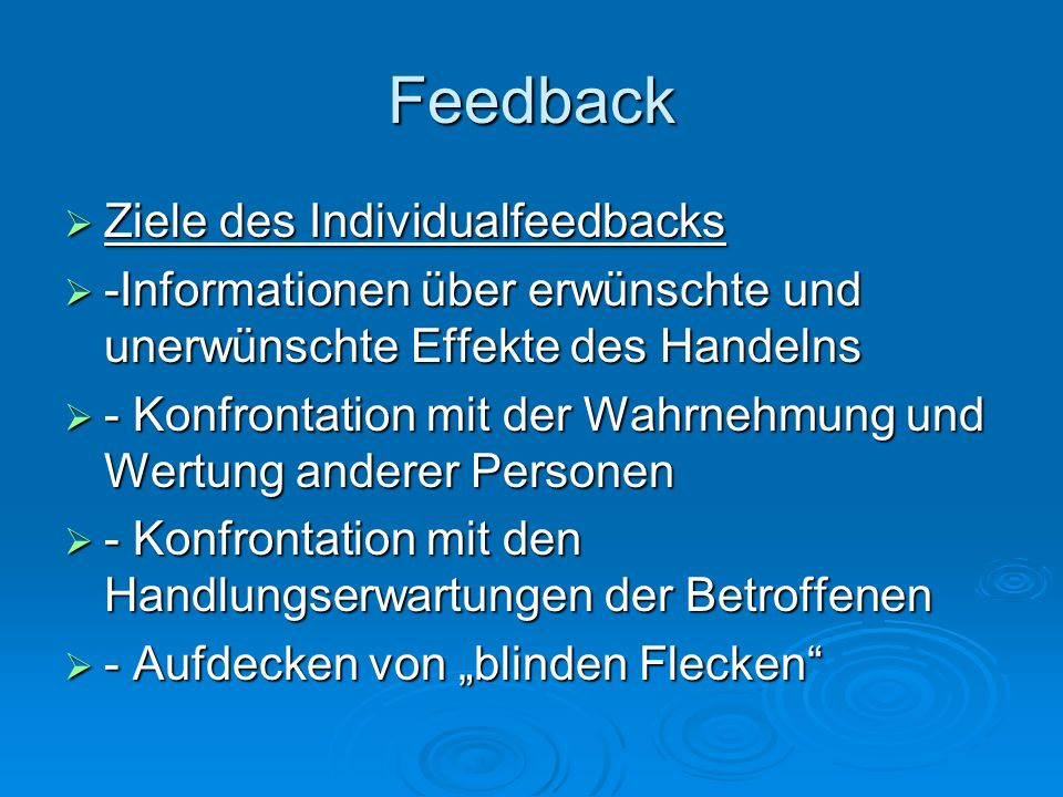 Feedback Ziele des Individualfeedbacks