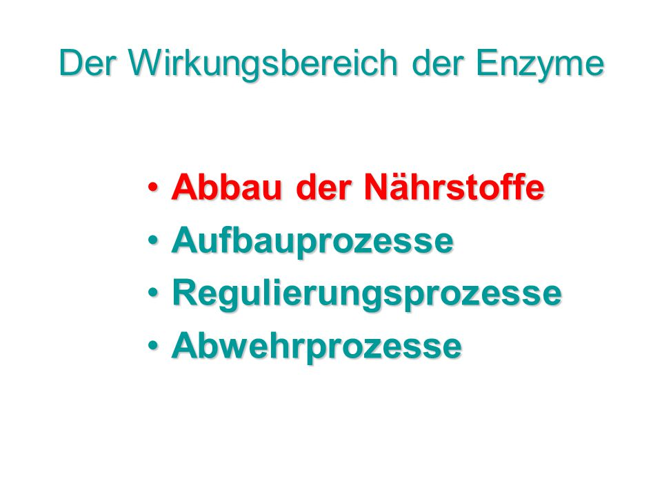 Der Wirkungsbereich der Enzyme