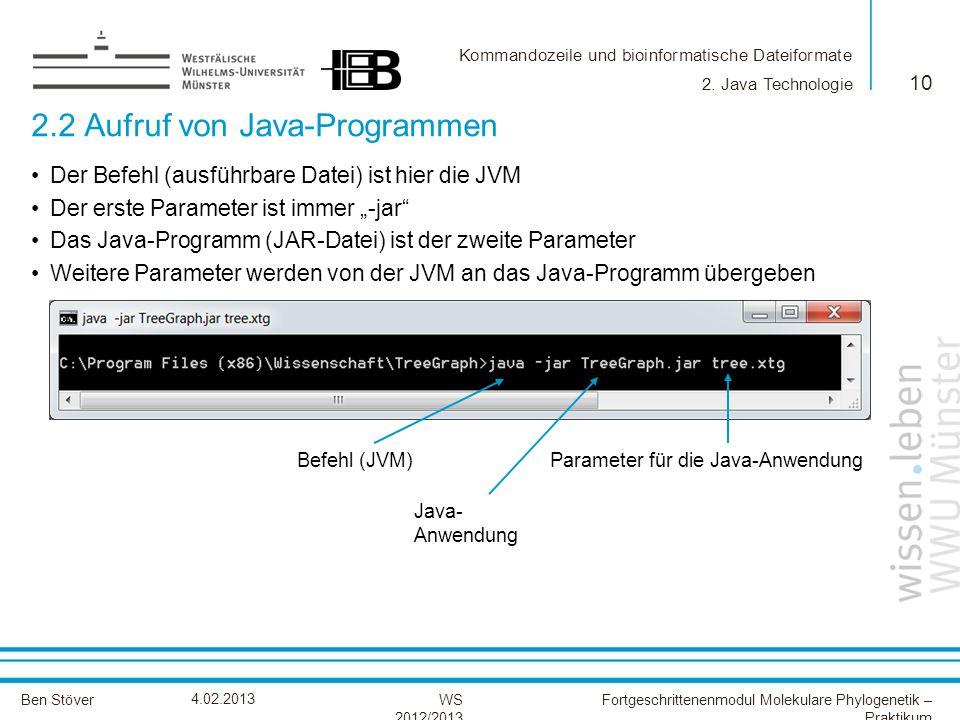 2.2 Aufruf von Java-Programmen