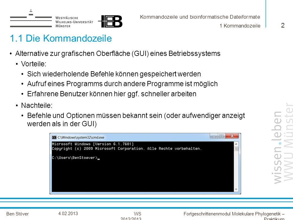 1 Kommandozeile 1.1 Die Kommandozeile. Alternative zur grafischen Oberfläche (GUI) eines Betriebssystems.