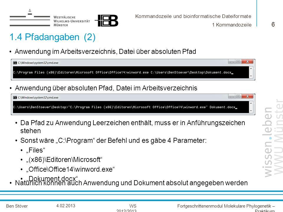 1 Kommandozeile 1.4 Pfadangaben (2) Anwendung im Arbeitsverzeichnis, Datei über absoluten Pfad.