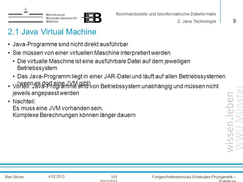 2.1 Java Virtual Machine Java-Programme sind nicht direkt ausführbar